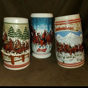 Over 25 Holiday Budweiser Steins